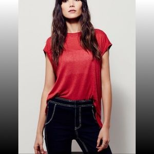 NWT FREE PEOPLE Muscle Tank Tee, Red